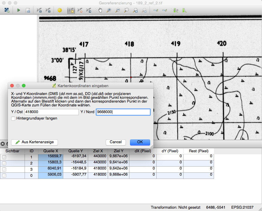 QGIS Georeferenzierung Setzen der Passpunkte